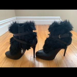 Ralph Lauren Leather Faux Fur Vivian Ankle Boots